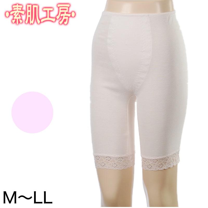 5分丈パンツ インナーパンツ 綿100% M〜LL (下着 肌着 5分丈 ズボン下 スパッツ レディース ボトム インナー ひざ丈 透け防止)