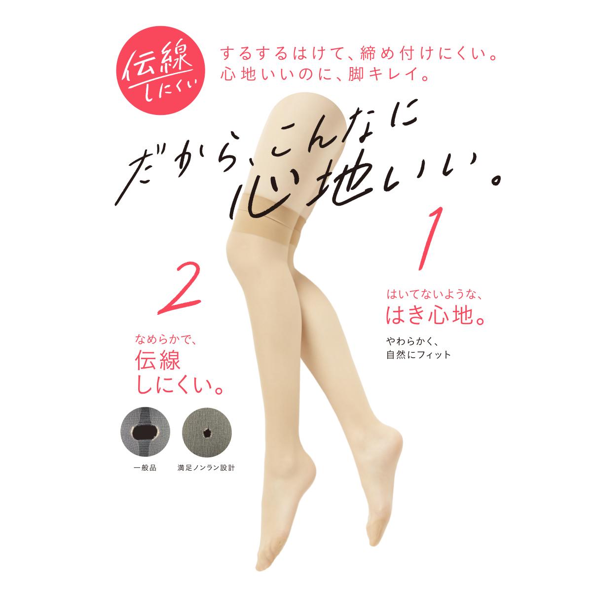 福助 満足 ストッキング ひざ上丈 22-25cm (フクスケ レディース 伝線しにくい)