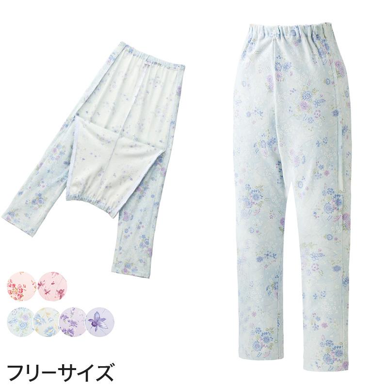 婦人 腰開き洗い替えパンツ フリーサイズ (レディース パジャマズボン ボトム 日本製)(送料無料) 【取寄せ】