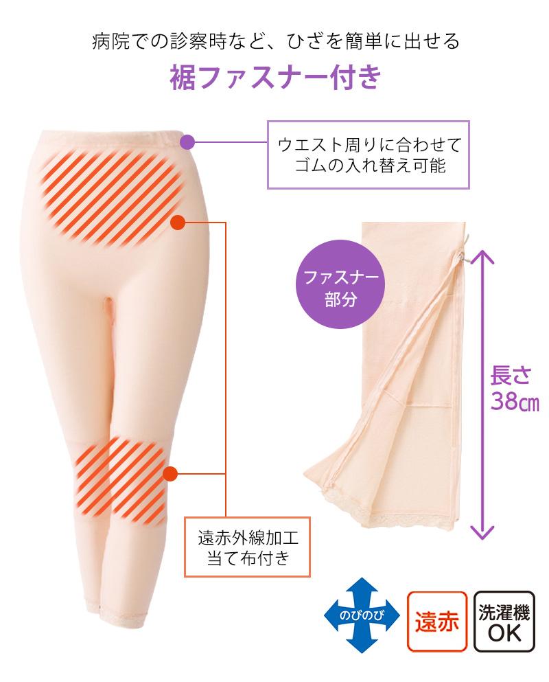 Suteteko 婦人 裾ファスナー付タイツ M〜3L (レディース 肌着 インナーボトム ももひき スパッツ L LL)(送料無料) 【取寄せ】