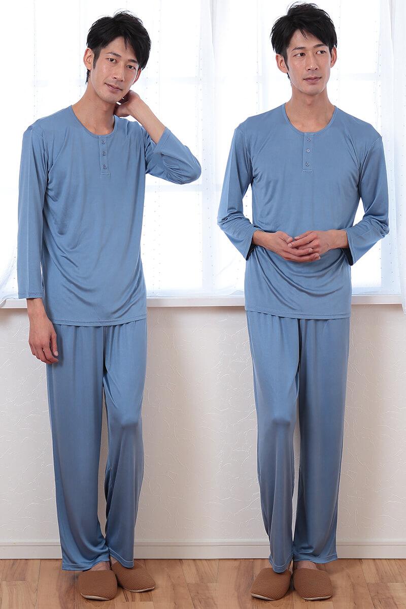 シルク100% 長袖パジャマ メンズ M・L (パジャマ 長袖 長ズボン 上下 男性 ルームウェア 部屋着 シルク ニット プレゼント ギフト 敏感肌) (送料無料)