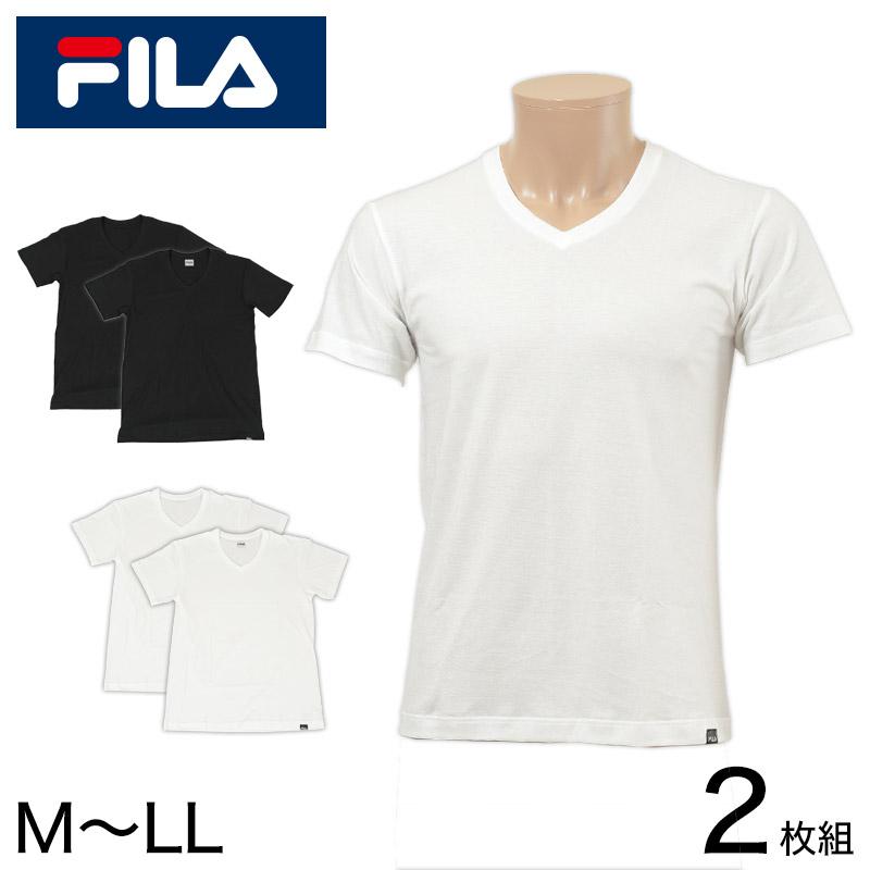 福助 FILA 紳士 天竺VネックTシャツ2枚組 M-LL (フクスケ フィラ メンズ 男性 肌着 アンダーウェア インナー V首)