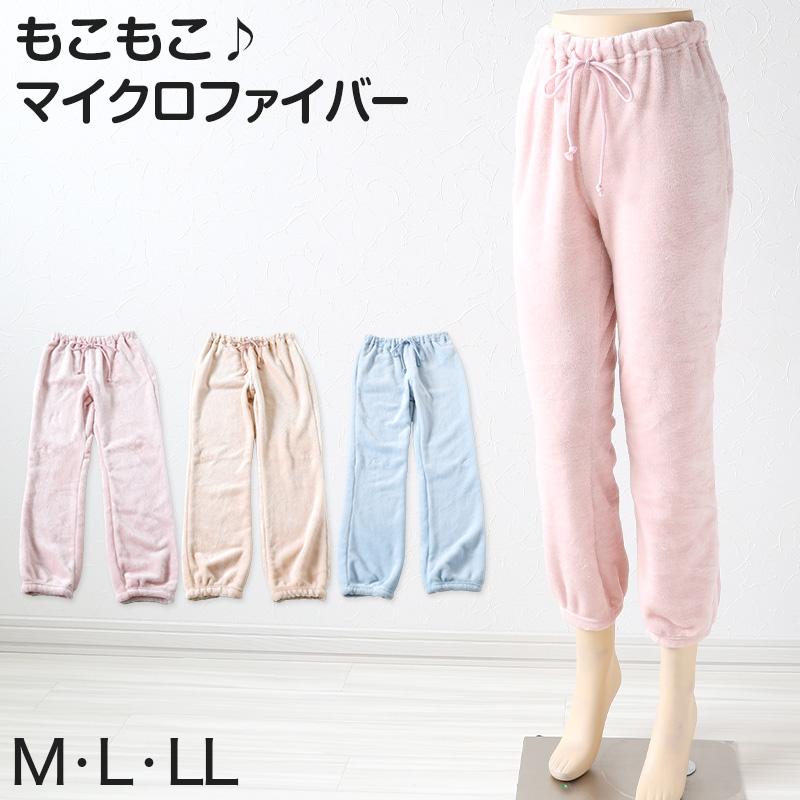 ルームパンツ レディース マイクロファイバー M〜LL (もこもこ 部屋着 パジャマ ボーダー かわいい ふわふわ ズボン 冬 冷え防止 M L LL)