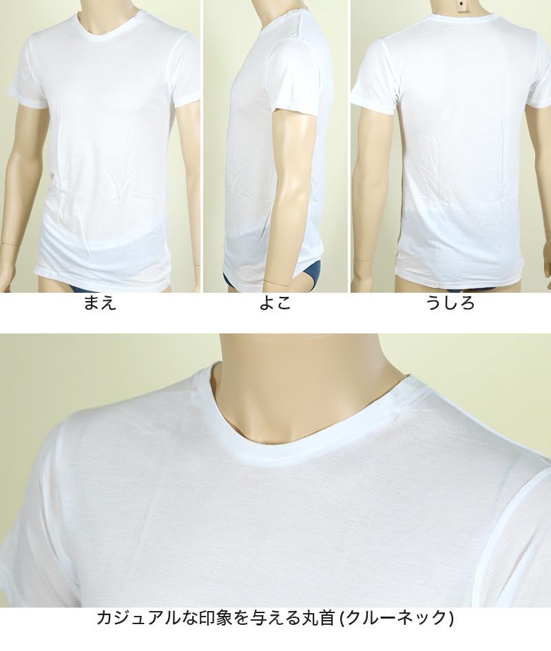メンズ 半袖丸首Tシャツ 鹿の子 カノコ ナノイオン M〜LL (インナー 紳士肌着 男 アンダーウェア)