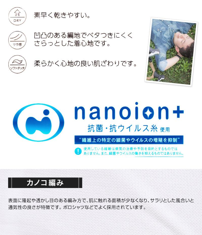 メンズ 半袖V首Tシャツ 鹿の子 カノコ ナノイオン M〜LL (インナー 紳士肌着 男 アンダーウェア)