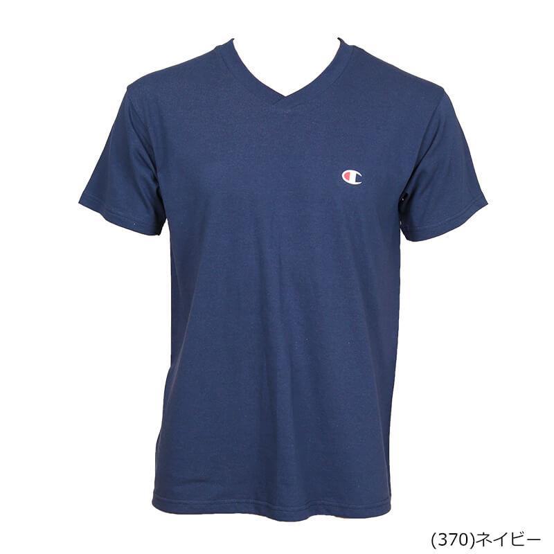 チャンピオン vネック tシャツ 速乾 S〜LL (速乾 メンズ半袖シャツ V首 ネイビー 白 黒 S M L LL)