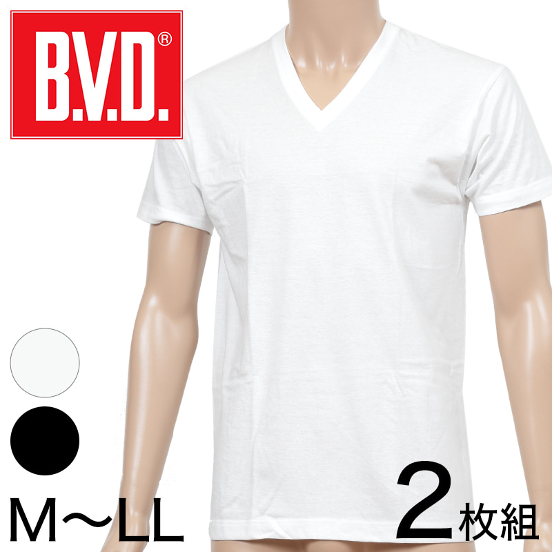 BVD メンズ 半袖シャツ Vネック NEW STANDARD 綿100% 2枚組 M〜LL (インナー 下着 V首 男性 紳士 白 ホワイト コットン M L LL)