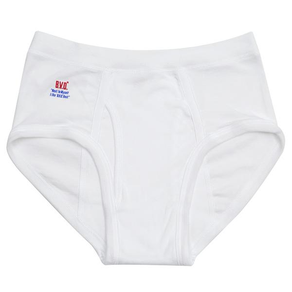 BVD メンズ セミビキニブリーフ 綿100%  LL (コットン 前開き 下着 肌着 インナー 男性 紳士 パンツ ボトムス 白 ホワイト 大きいサイズ)