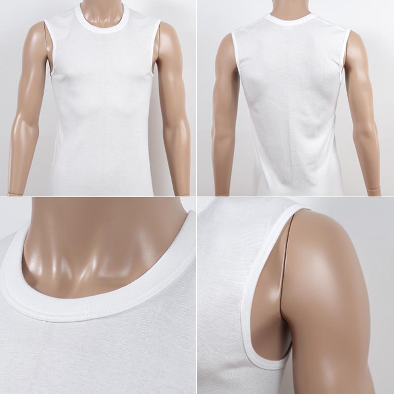 BVD メンズ スリーブレス丸首シャツ 綿100% 5L・6L (コットン インナー クルーネック 下着 男性 紳士 白 ホワイト 大きいサイズ)
