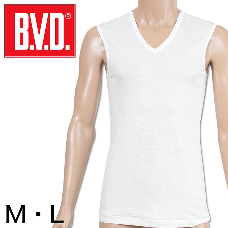 BVD メンズ スリーブレスVネック シャツ M・L (インナー V首 下着 男性 紳士 白 ホワイト)