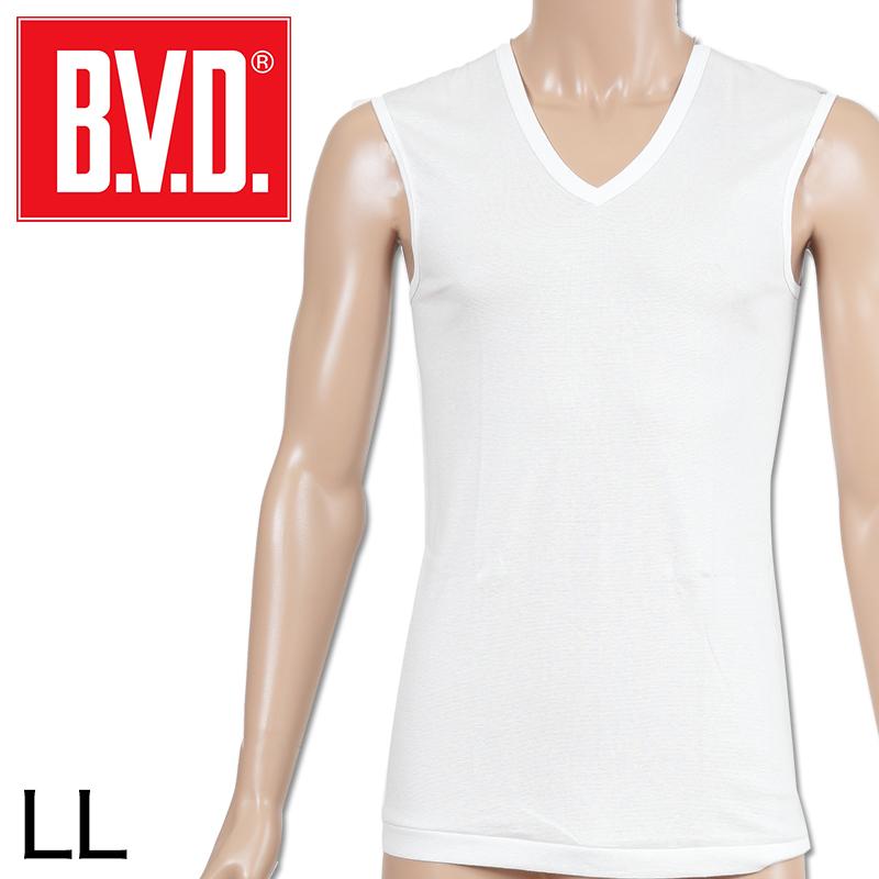 BVD メンズ スリーブレスVネック シャツ LL (インナー V首 下着 男性 紳士 白 ホワイト 大きいサイズ)