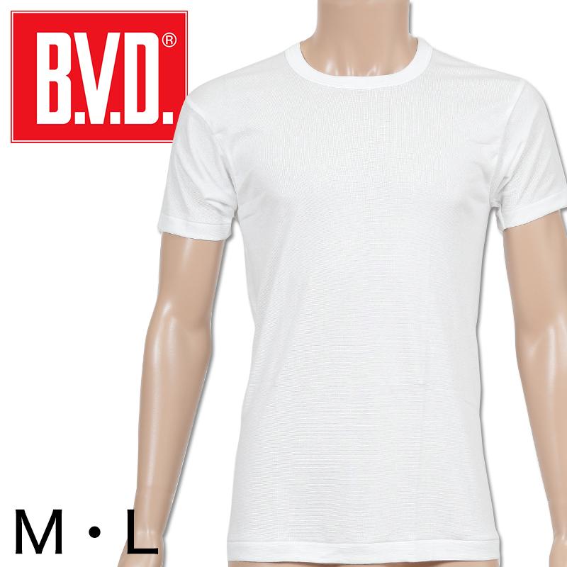 BVD メンズ 半袖シャツ クルーネック M・L (丸首 インナー 下着 男性 紳士 白 ホワイト)