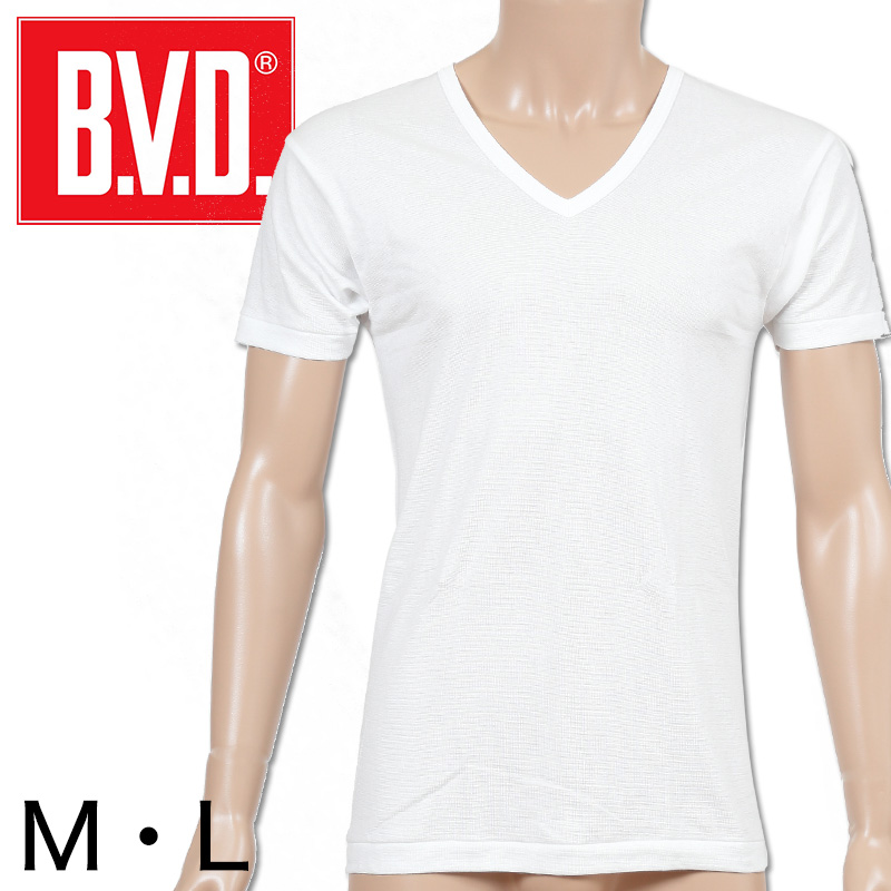 BVD メンズ 半袖シャツ Vネック M・L (V首 インナー 下着 男性 紳士 白 ホワイト)