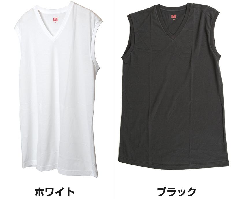 BVD メンズ 大きいサイズ Vネック スリーブレス シャツ 3L〜6L (V首 ランニング インナー 下着 男性 紳士 白 黒 ホワイト ブラック ぽっちゃり 3L 4L 5L 6L)