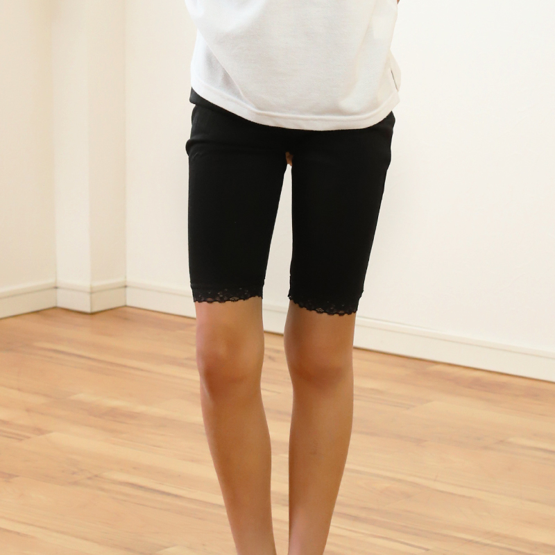 ガールズ 裾レースレギンス 5分丈 100cm〜160cm (女の子 キッズ 子供 小学生 幼稚園 黒 ブラック ガールズスパッツ)