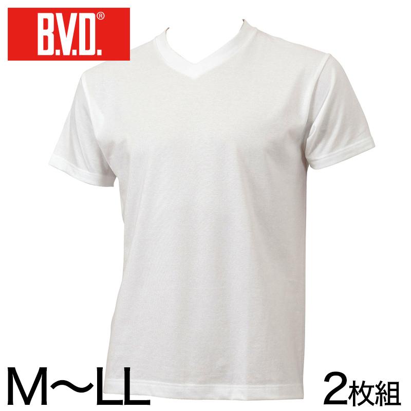 BVD メンズ 半袖 浅めVネック シャツ 2枚組 M〜LL (インナー V首 下着 男性 紳士 白 ホワイト M L LL)